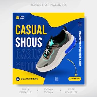 Dynamiczne buty sportowe baner mediów społecznościowych i projekt szablonu postu na instagramie premium wektorów