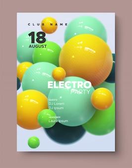 Dynamiczne kolorowe odbijające się kule. okładka imprezy z muzyką taneczną. szablon broszury