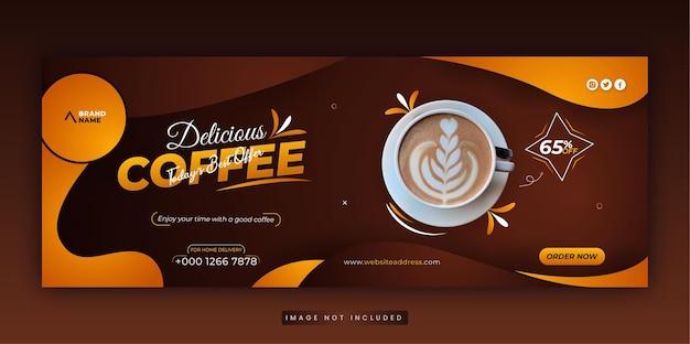 Dynamiczne menu restauracji promocja w mediach społecznościowych pyszna czarna kawa szablon okładki na facebooku
