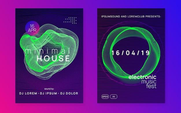 Dynamiczny gradientowy kształt i plakat z linią. wydarzenie festiwalu techno.