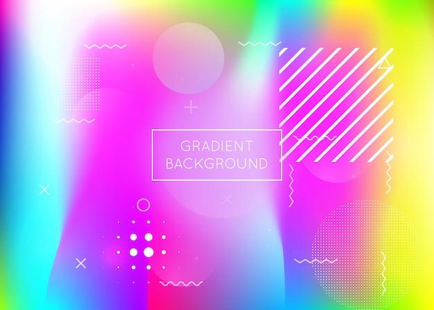 Dynamiczny kształt tła z płynnym płynem. holograficzny gradient bauhaus z elementami memphis. szablon graficzny ulotki, interfejsu użytkownika, magazynu, plakatu, banera i aplikacji. modny dynamiczny kształt tła.