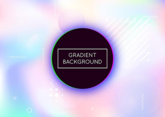 Dynamiczny kształt tła z płynnym płynem. holograficzny gradient bauhaus z elementami memphis. szablon graficzny ulotki, interfejsu użytkownika, magazynu, plakatu, banera i aplikacji. perłowy dynamiczny kształt tła.