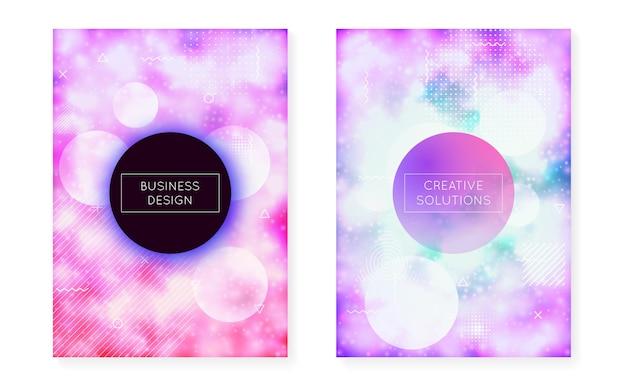 Dynamiczny kształt tła z płynnym płynem. neonowy gradient bauhaus z fioletową świecącą osłoną. szablon graficzny na afisz, prezentację, baner, broszurę. jasny dynamiczny kształt tła.