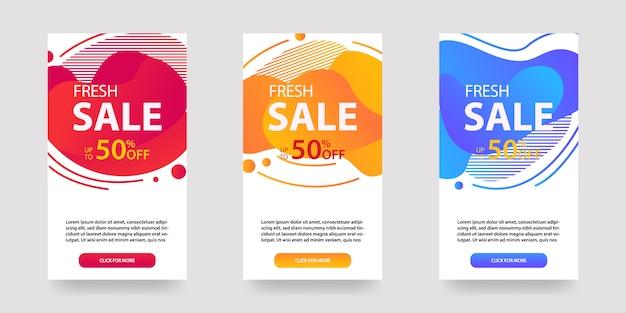 Dynamiczny nowoczesny płyn mobilny banery na sprzedaż. projekt szablonu banerów sprzedażowych, zestaw ofert specjalnych sprzedaży flash, post w mediach społecznościowych i nie tylko.