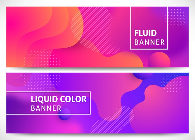 Dynamiczny płyn 3d kształtuje zestaw poziomy banerów.