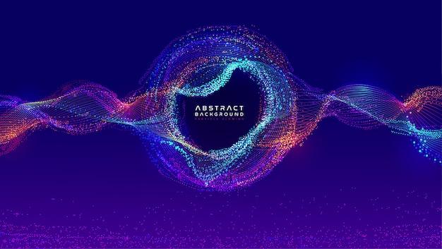 Dynamiczny przepływ cieczy świecących cząstek. modny projekt okładki na płyn