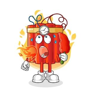 Dynamit zjada gorącą maskotkę chilli. kreskówka wektor