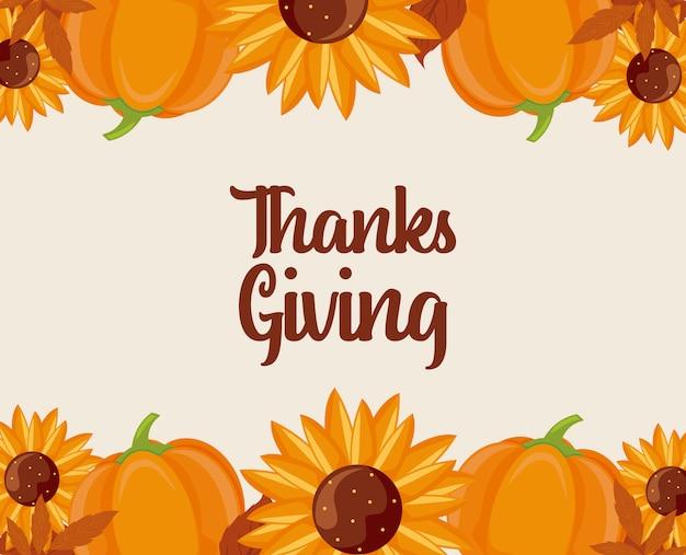 Dyni słoneczniki i liście dziękczynienie dnia wektorowy projekt