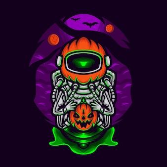 Dynia astronauta trzymająca dynię na halloween