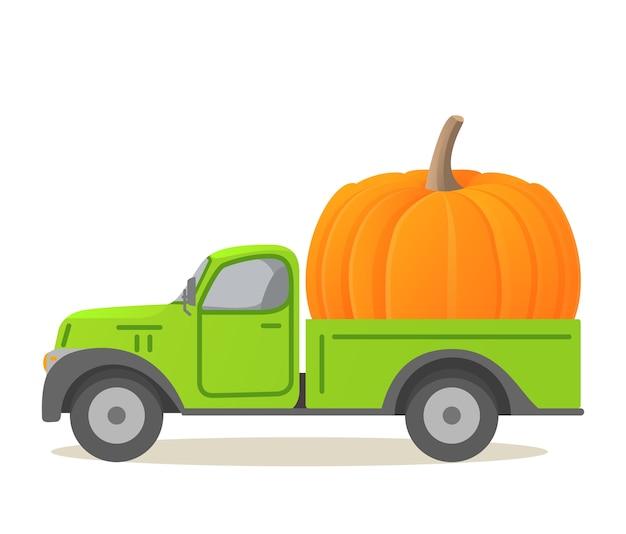 Dynia dostawy żywności ciężarówki. jesienne zbiory warzyw. odbiór samochodu.