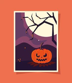 Dynia halloween i księżyc