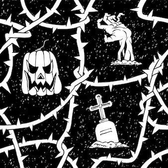 Dynia halloween i zombie wzór z cierniami oddziałów tarniny. horror wektor kwiatowy czarno białe tło.