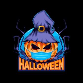 Dynia halloween w kapeluszu wiedźmy i maska na twarz koronawirusa