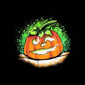 Dynia halloweenilustracja wektorowa, odpowiednia do t-shirtów, odzieży, produktów do druku i towarów