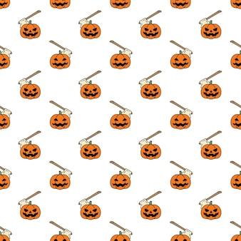 Dynia halloweenowa bezszwowa topór wzór