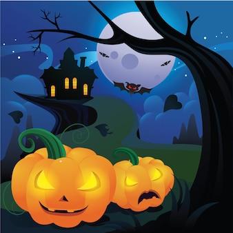 Dynia halloweenowa z sylwetką zamku przy świecącym księżycu i martwymi drzewami
