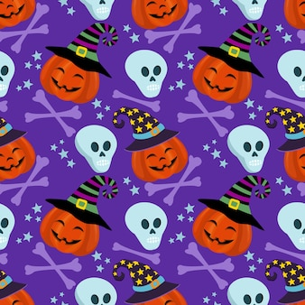 Dynia i czaszki halloween wzór bezszwowe koncepcja.