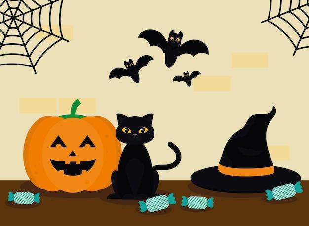 Dynia i kot na halloween