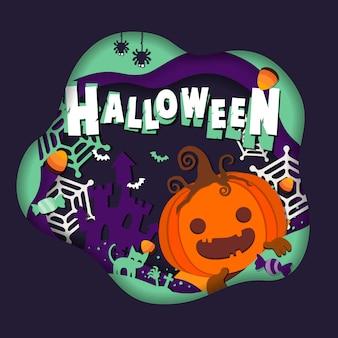 Dynia i słodycze halloween na cukierek albo psikus. szablon ulotki lub zaproszenia na imprezę halloween.