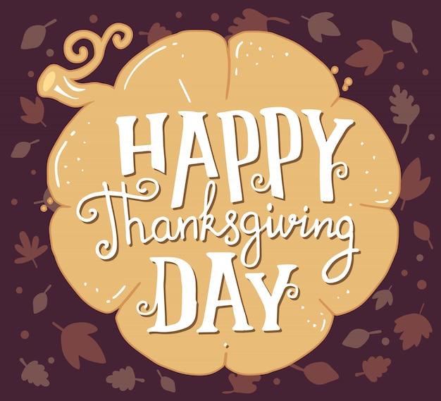 Dynia i tekst szczęśliwy dzień dziękczynienia z jesiennych liści na ciemno