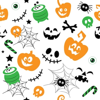 Dynia śmieszne twarze szkielet pająka i pajęczyna wzór wektor ilustracja na białym tle
