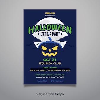 Dynia w nocy halloween party plakat