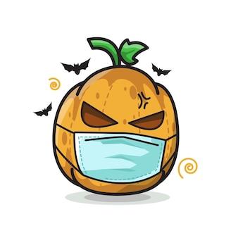 Dynia za pomocą maski halloween cute line art illustration