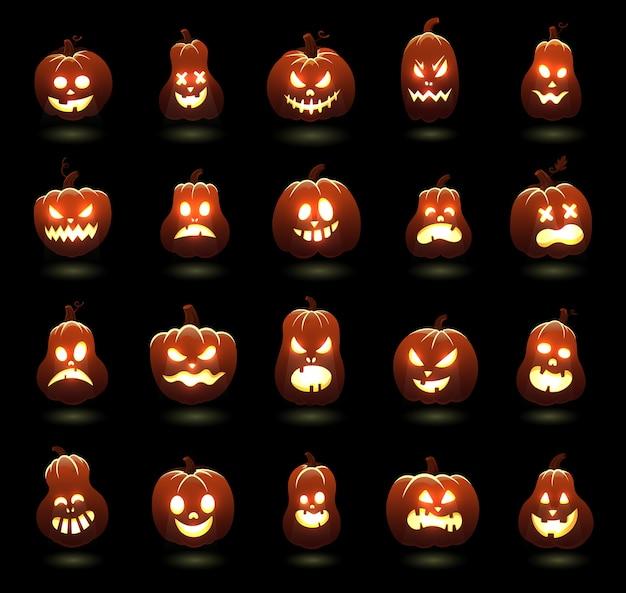 Dynie halloween. kreskówka przerażające rzeźbione postacie z dyni, wściekłe świecące twarze dyni, zestaw ilustracji świątecznych dekoracji. postać z wakacji na halloween, horror z pomarańczowym uśmiechem,