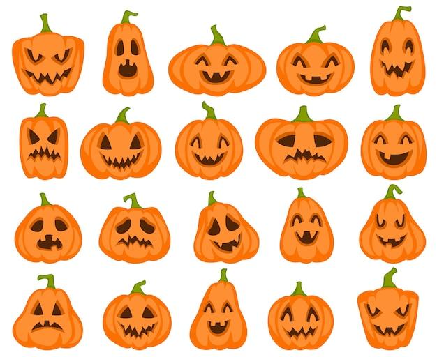 Dynie halloween. pomarańczowe postacie z dyni jack latarnia. upiorne i wściekłe rzeźbione twarze na jesienną kartkę z życzeniami zdziwiona kolekcja rysunków żywnościowych ładny zestaw sylwetka uśmiech