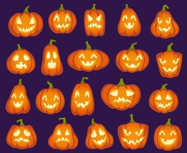 Dynie halloween. pomarańczowe postacie z dyni. straszne, szczęśliwe i smutne, wściekłe śmieszne twarze na święta halloween.