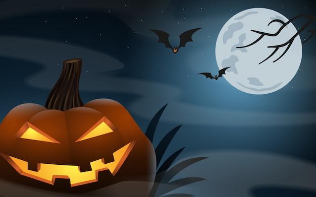 Dynie halloween w pochmurną noc