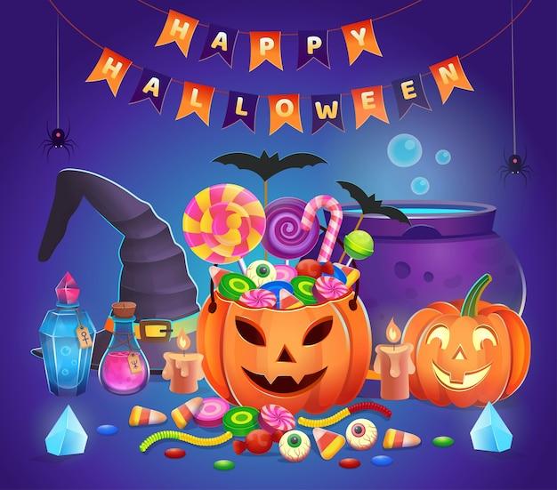 Dynie halloween ze słodyczami, kapeluszem czarownicy, kociołkiem, miksturami, kryształami i świecami. ilustracja kreskówka. ikona gier i aplikacji mobilnej.