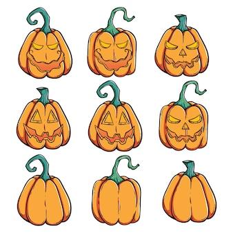 Dynie halloween zestaw z upiorny twarz i przy użyciu stylu doodle