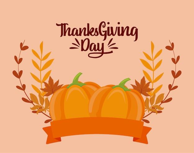Dynie i liście święto dziękczynienia wektor wzór
