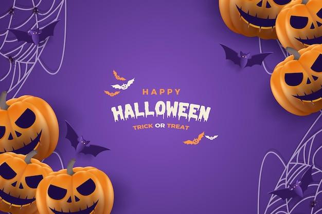 Dynie i pajęczyny na halloween w tle