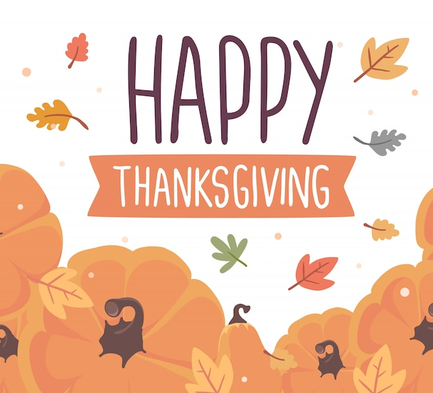 Dynie i tekst szczęśliwego święta dziękczynienia z jesiennych liści na białym tle