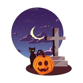 Dyniowego kota szczęśliwy halloween świętowanie