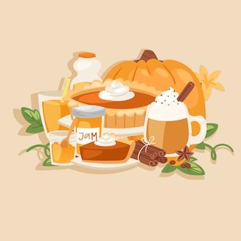 Dyniowy dziękczynienie zbiera sezonowych aromatyzowanych produkty, jedzenia i napojów kreskówki ilustrację ,.