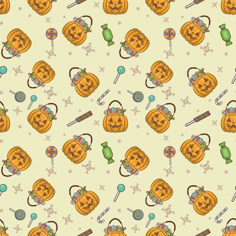 Dyniowy halloween bezszwowy wzór