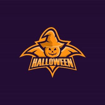 Dyniowy halloween ilustracyjny loga wektor