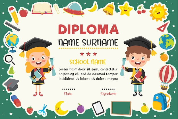 Dyplom dla dzieci w wieku przedszkolnym i szkoły podstawowej