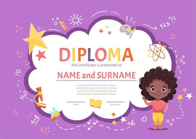 Dyplom dla dzieci z dyplomem ukończenia przedszkola lub podstawówki z uroczą czarną dziewczyną z ciemnymi kręconymi włosami na tle z ręcznie rysowanymi elementami. ilustracja kreskówka