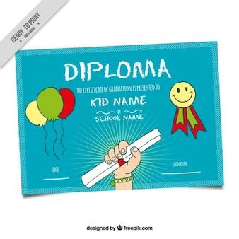 Dyplom dla dzieci z niebieskim tle