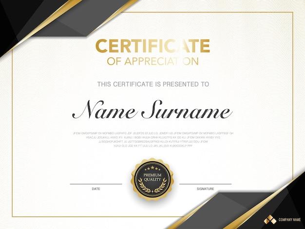 Dyplom szablon certyfikatu czarno-złoty kolor z luksusowym i nowoczesnym stylem wektorowym