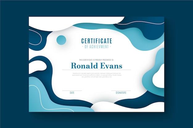 Dyplom szablon z abstrakcyjnymi kształtami