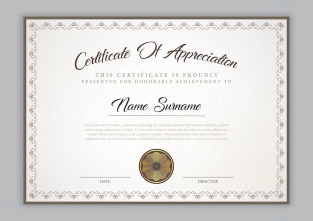 Dyplom szablonu certyfikatu z ornamentem granicznym, pieczęcią i przykładowym tekstem.
