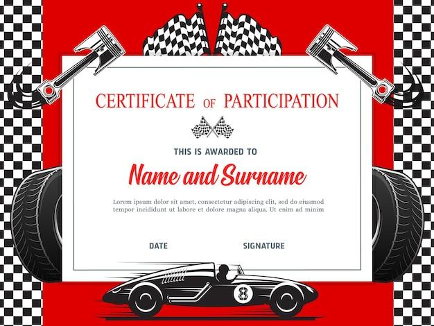 Dyplom uczestnictwa w wyścigu, wzór certyfikatu