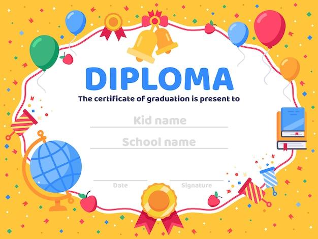 Dyplom ukończenia. ukończenie szkoły, gratulacje dla absolwentów i ilustracja świadectwa dla dziecka lub przedszkola
