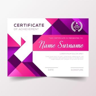 Dyplom uznania z odcieniami fioletu gradientowego