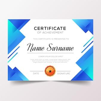 Dyplom uznania z odcieniami niebieskiego gradientu